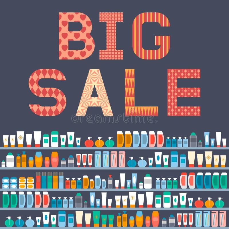 Grande vendita dei cosmetici Progetti un'aletta di filatoio o un'insegna di pubblicità La VE royalty illustrazione gratis
