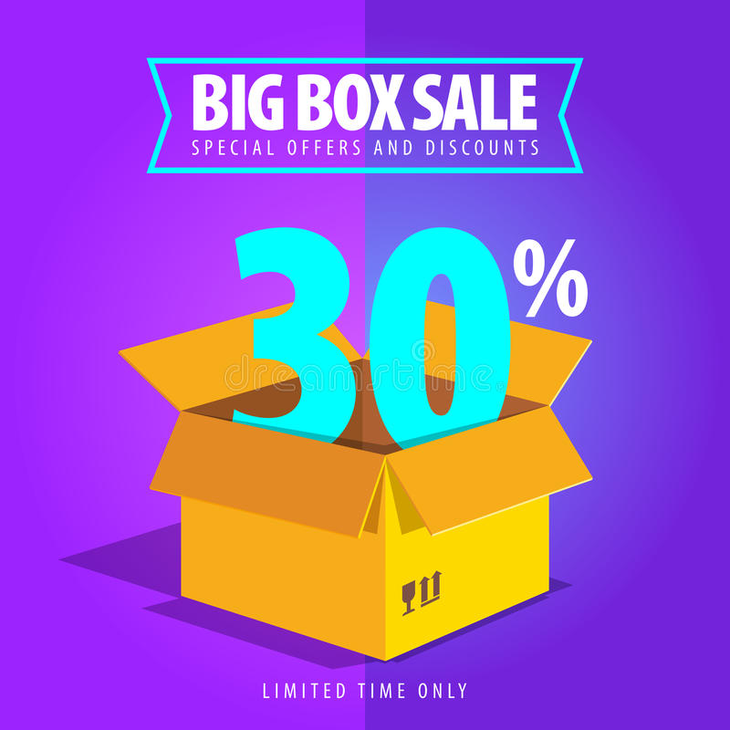 Grande vendita della scatola, offerte speciali e sconti illustrazione di stock