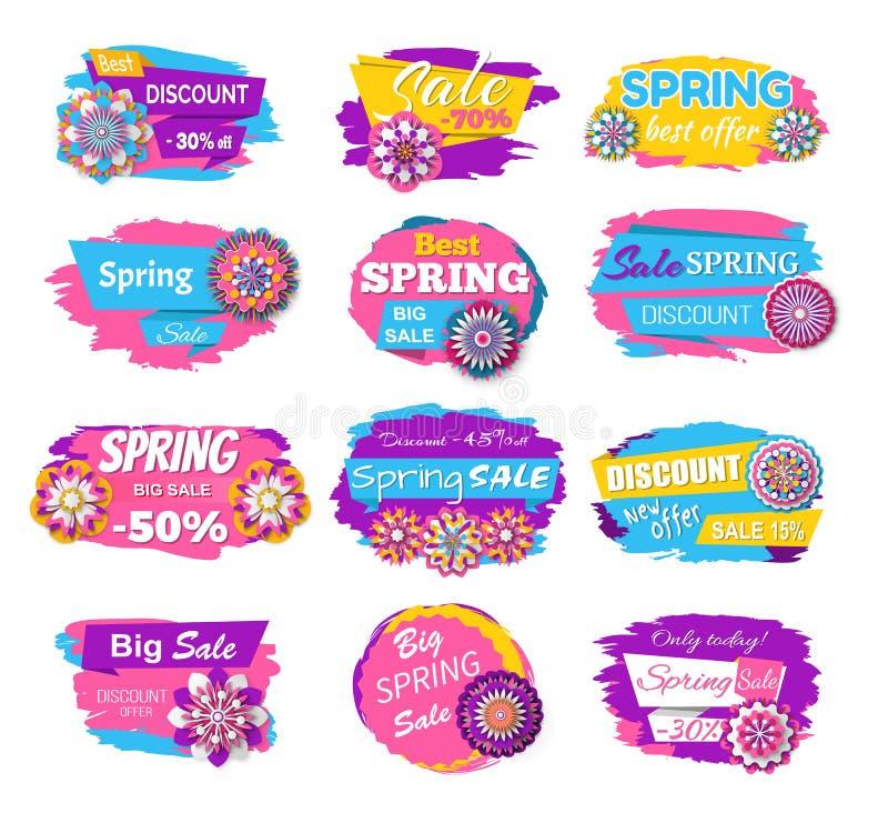 Grande vendita di compera con il fiore, vettore dell'etichetta della primavera royalty illustrazione gratis