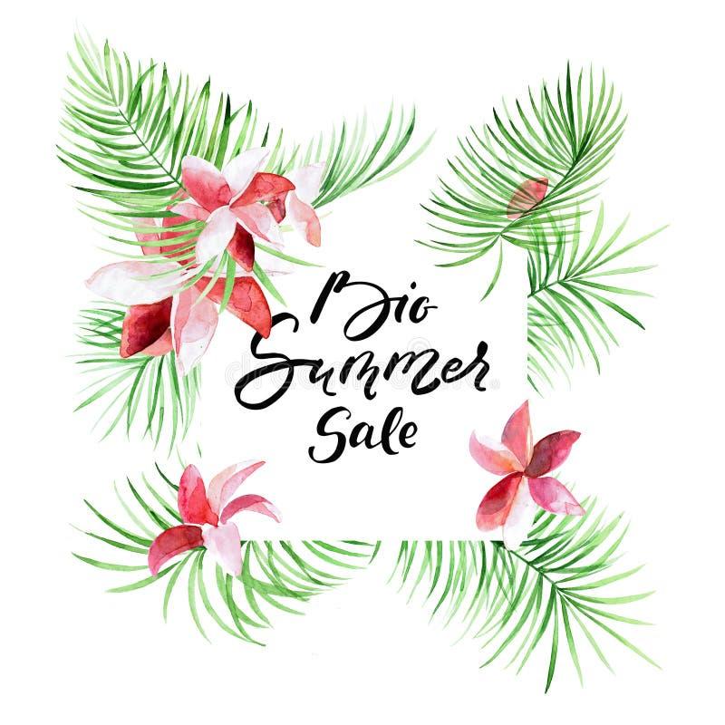 Grande vendita di estate - confine tropicale delle foglie di palma con testo scritto a mano illustrazione vettoriale