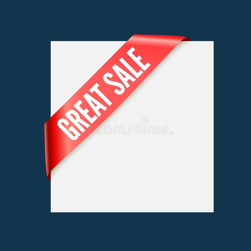 Grande vendita - nastro d'angolo rosso Elemento di disegno di vettore illustrazione di stock
