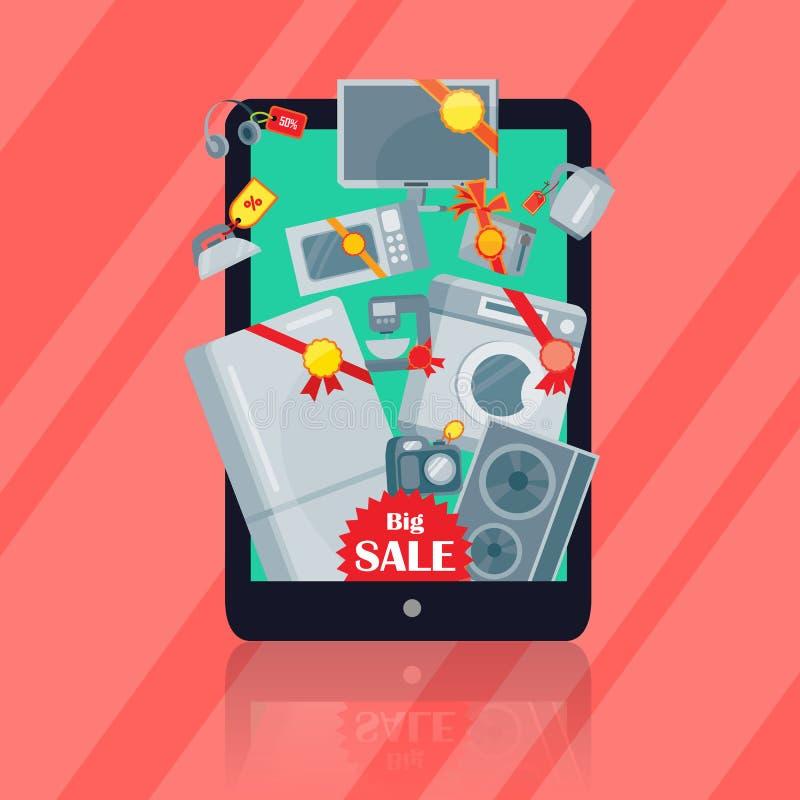 Grande vendita nel concetto piano di vettore del deposito di elettronica illustrazione vettoriale