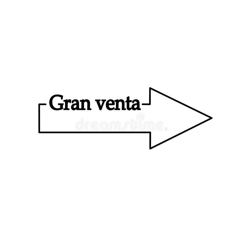 Grande vendita nella linea spagnola dell'illustrazione del puntatore a freccia dell'icona, ENV royalty illustrazione gratis