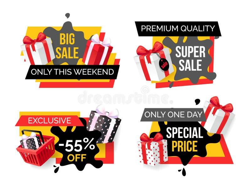 Grande vendita, prodotti premio, insieme di prezzi speciali illustrazione di stock