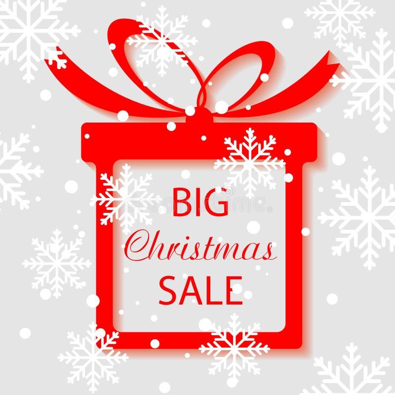 Grande vente, bannière carrée sous la forme de cadeau avec le ruban rouge et arc, illustration stock