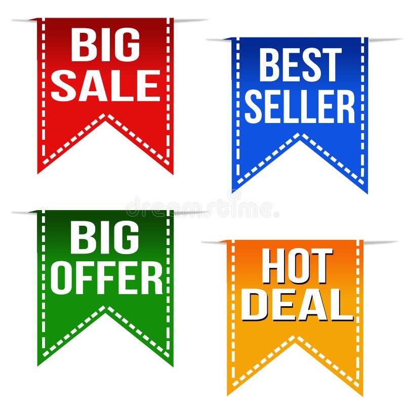 Grande vente, best-seller, grande offre et rubans chauds d'affaire illustration stock