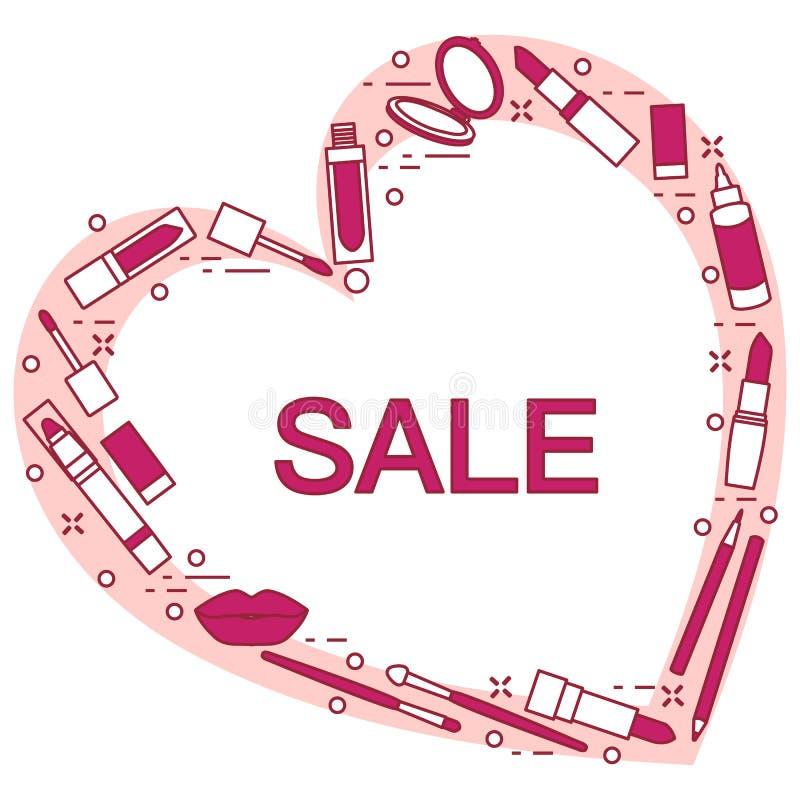 Grande vente, concept de achat Produits de beaut? d?coratifs illustration de vecteur