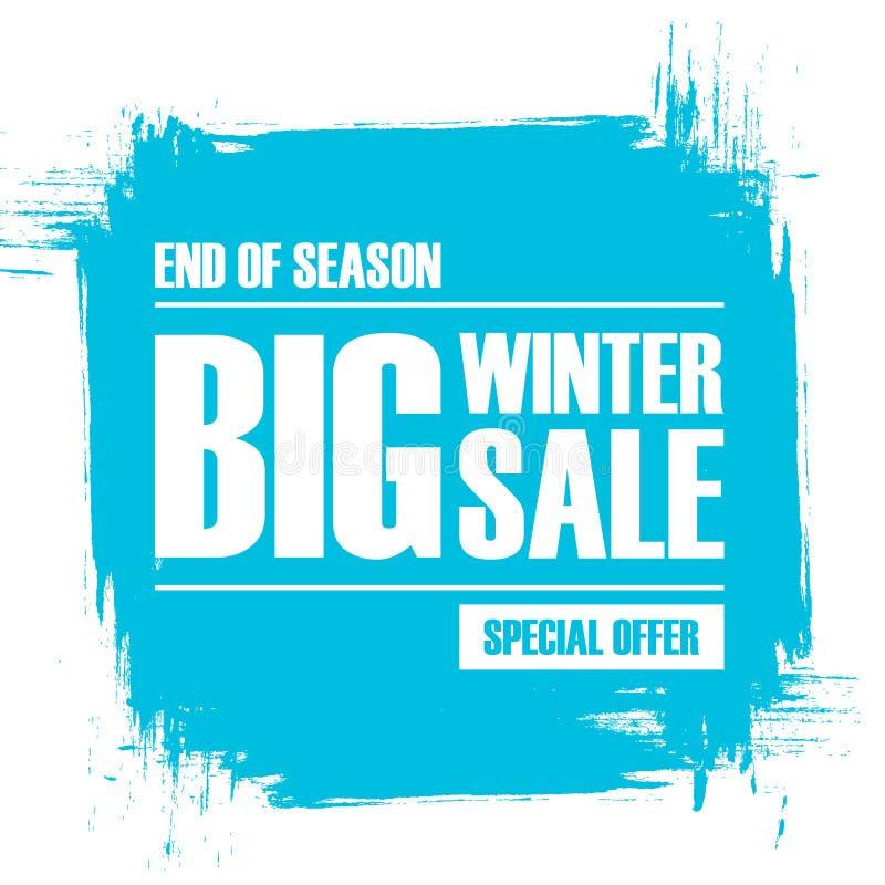 Grande vente d'hiver Extrémité de bannière d'offre spéciale de saison avec le fond de course de brosse illustration stock