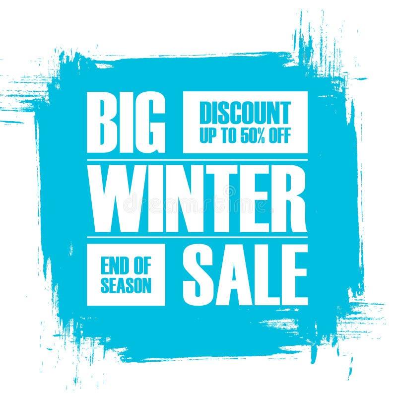 Grande vente d'hiver Extrémité de bannière d'offre spéciale de saison avec le fond de course de brosse illustration libre de droits