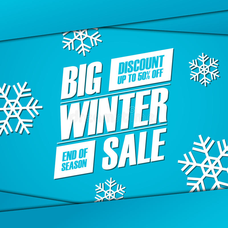 Grande vente d'hiver Extrémité de bannière d'offre spéciale de saison, remise jusqu'à 50%  illustration de vecteur