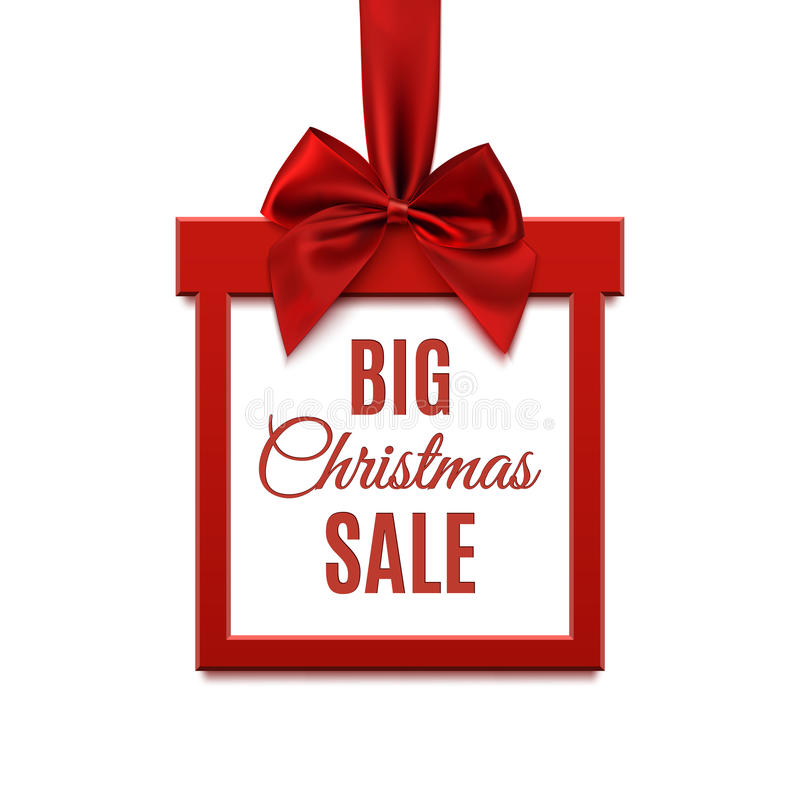 Grande vente de Noël, bannière carrée sous la forme de cadeau avec le ruban rouge illustration de vecteur