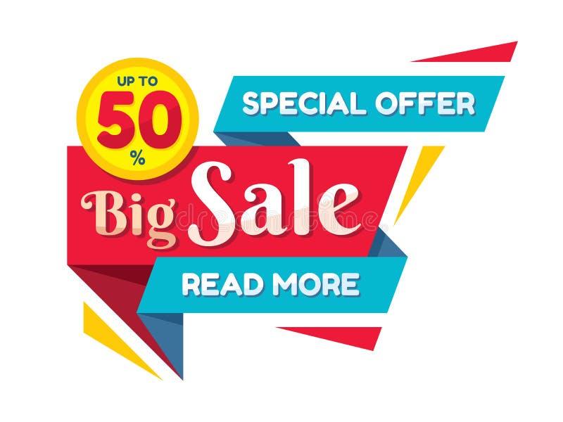 Grande vente jusqu'à 50% - dirigez l'illustration de concept dans le style plat Insigne créatif d'origami d'offre spéciale sur le illustration stock