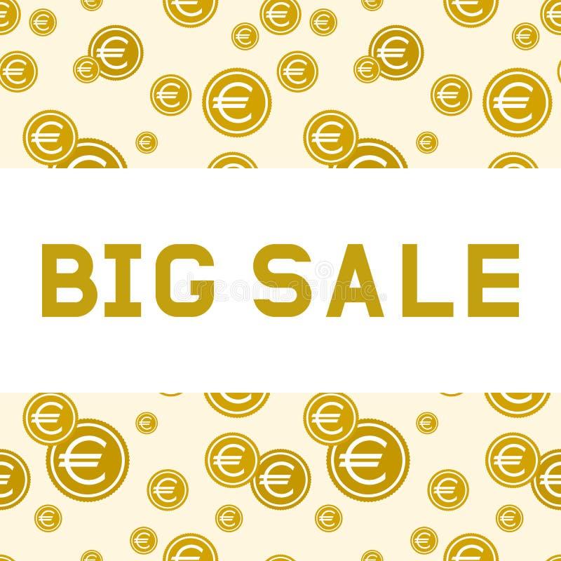 Grande vente Lettres d'or sur un fond des pièces de monnaie avec l'euro signe illustration de vecteur