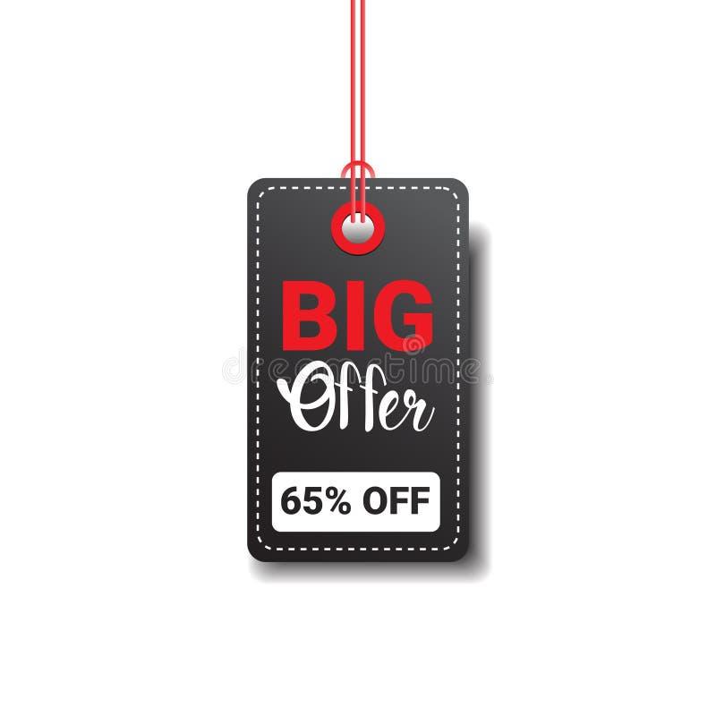 Grande vente Logo Design de Black Friday d'isolement d'offre par étiquette illustration stock