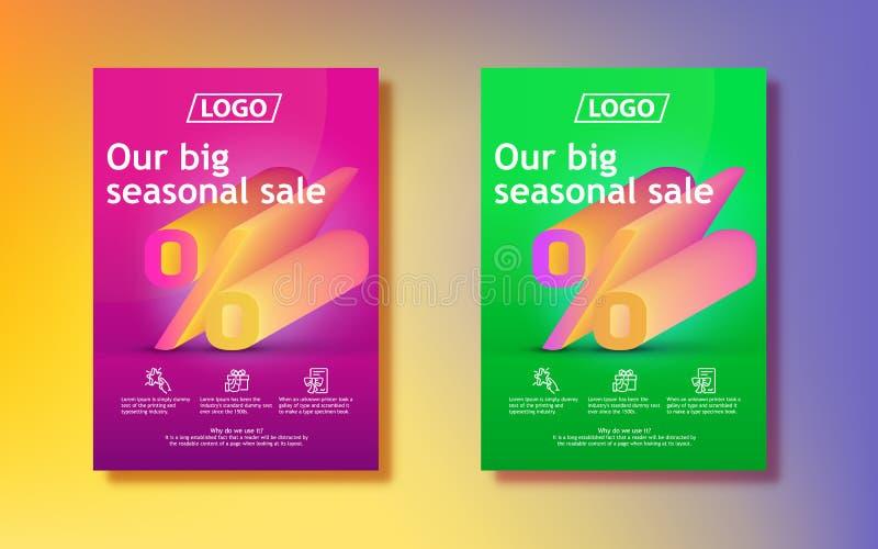 Grande vente saisonnière signe de pour cent 3d avec un gradient Fond de gradients coloré par résumé Conception verticale d'affich illustration libre de droits