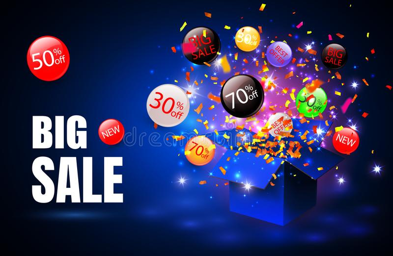 Grande vente Symbole de remise de vente d'offre spéciale avec les labels ouverts de cadeau et d'écoulement Facile à utiliser pour illustration de vecteur