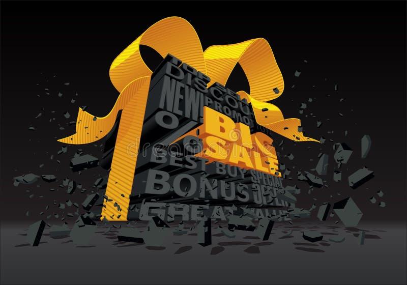 Grande vente - texte du noir 3d illustration libre de droits