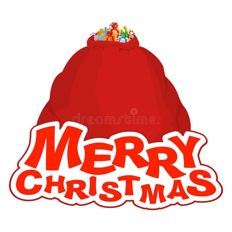 Grande vermelho do saco do Natal Saco grande de Santa presente sackful para o childr ilustração do vetor
