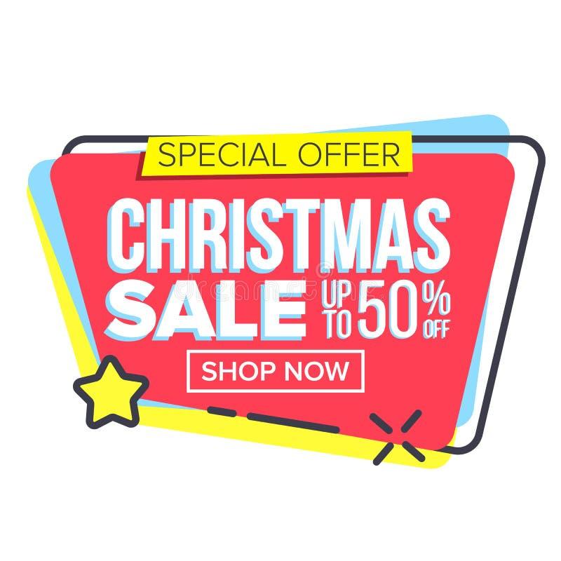Grande vettore dell'autoadesivo di vendita di Natale Opuscolo del modello Modelli di offerta speciale Etichetta di promozione Mig illustrazione di stock