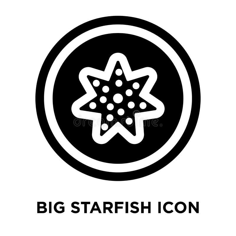 Grande vettore dell'icona delle stelle marine isolato su fondo bianco, logo concentrato illustrazione vettoriale