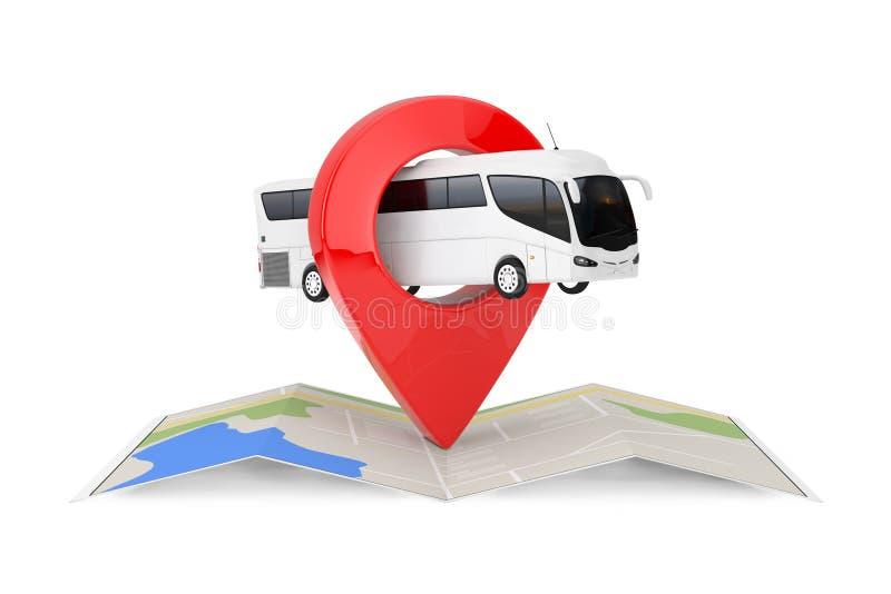 Grande vettura bianca Tour Bus sopra la mappa astratta piegata di navigazione con l'obiettivo Pin Pointer rappresentazione 3d illustrazione di stock