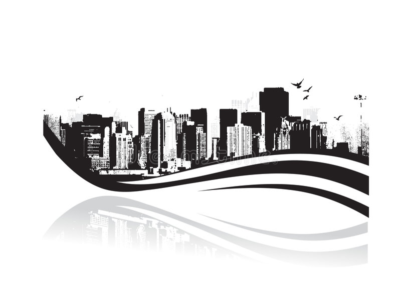 Grande ville - la grunge a dénommé le fond urbain. Vecteur illustration stock