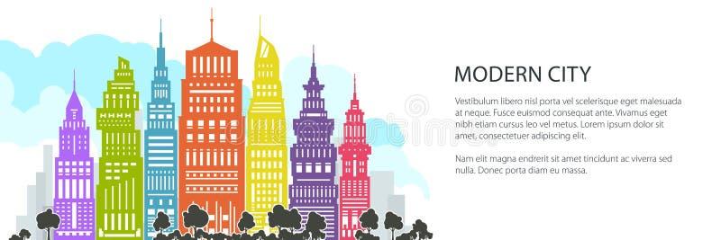 Grande ville moderne colorée, bannière illustration libre de droits