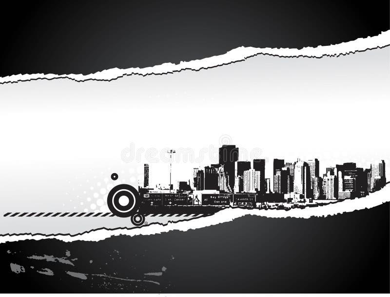 Grande ville - papier de larme dénommé par grunge. illustration libre de droits