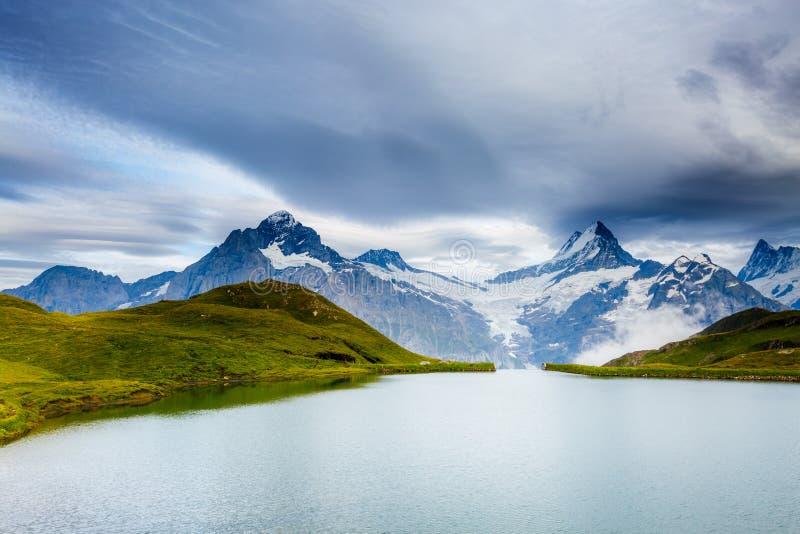 Grande vista de Mt Schreckhorn e Wetterhorn acima do lago Bachalpsee Cume suíço do lugar, Bernese Oberland, Grindelwald, Europa fotografia de stock