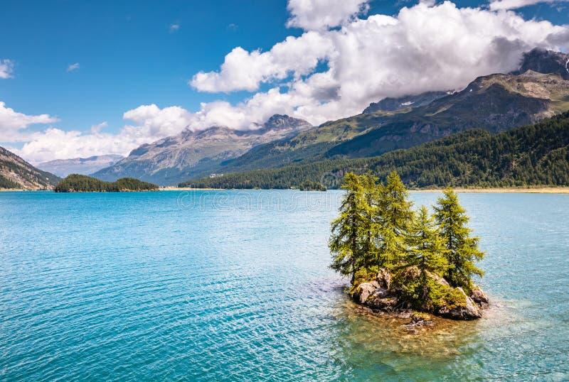 Grande vista no lago Silsersee Sils dos azuis celestes e no pico Piz Corvatsch imagem de stock royalty free