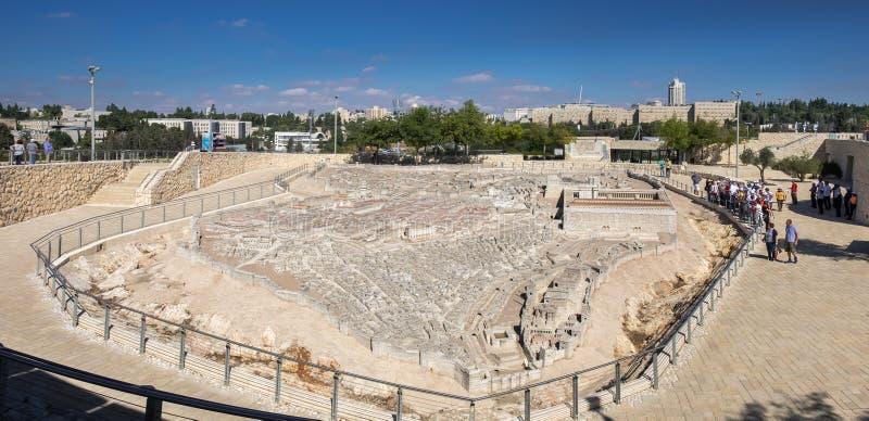 Grande vista panorâmica do modelo do Jerusalém no segundo templo fotos de stock royalty free