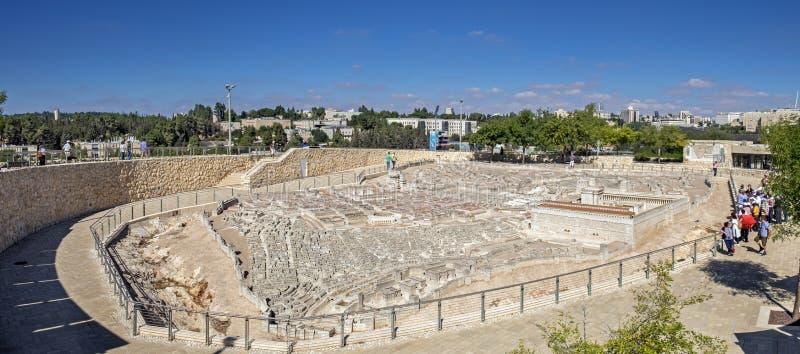 Grande vista panorâmica do modelo do Jerusalém no segundo templo fotografia de stock