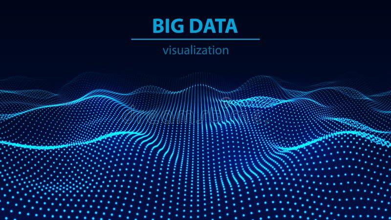 Grande visualisation 3d de donn?es Vague de technologie Repr?sentation d'Analytics Fond abstrait color? image stock