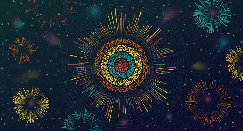 Grande visualisation de circulaire de données Analyse d'information illustration stock