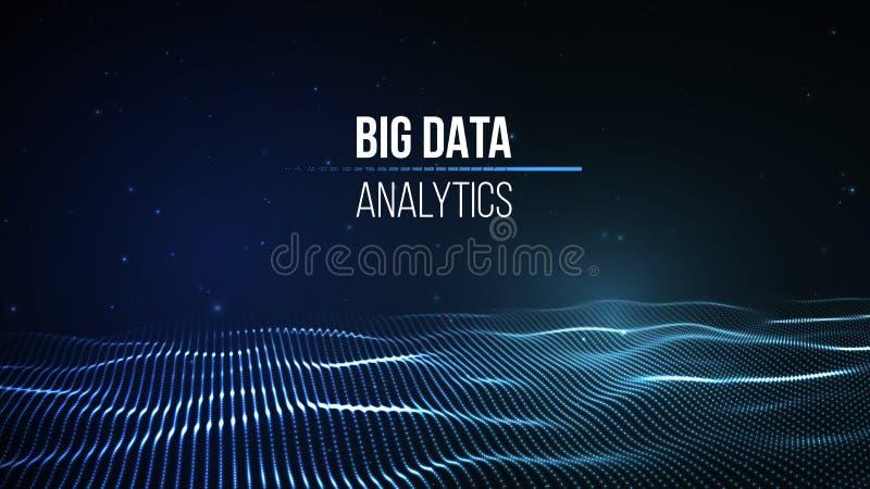 Grande visualisation de données Fond 3D Grand fond de connexion de données Réseau de fil de technologie de la technologie AI de C illustration de vecteur