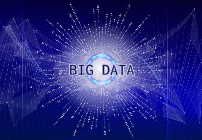 Grande visualisation de données Infographic futuriste avec la terre olographe de planète et le code binaire L'information esthéti illustration stock