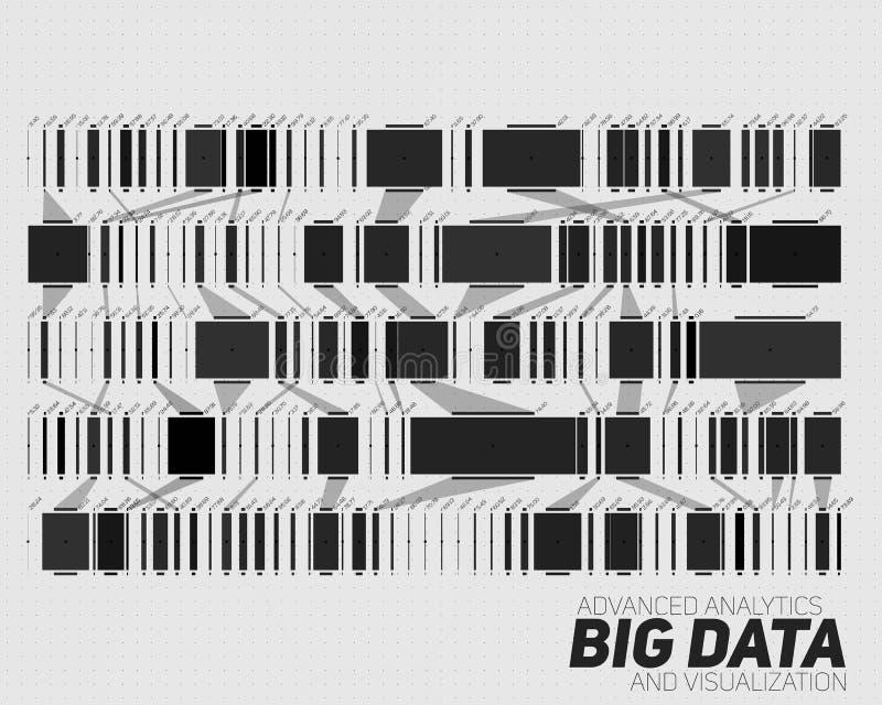 Grande visualisation de gamme de gris de données Infographic futuriste Conception esthétique de l'information Complexité de donné illustration stock