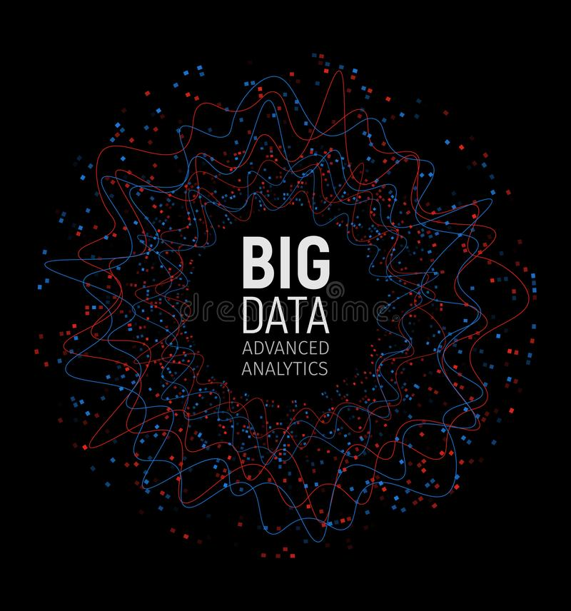 Grande visualisation de vecteur d'abrégé sur données Lignes et rangée de points Grand complexe de connexion de données Élément gr illustration libre de droits