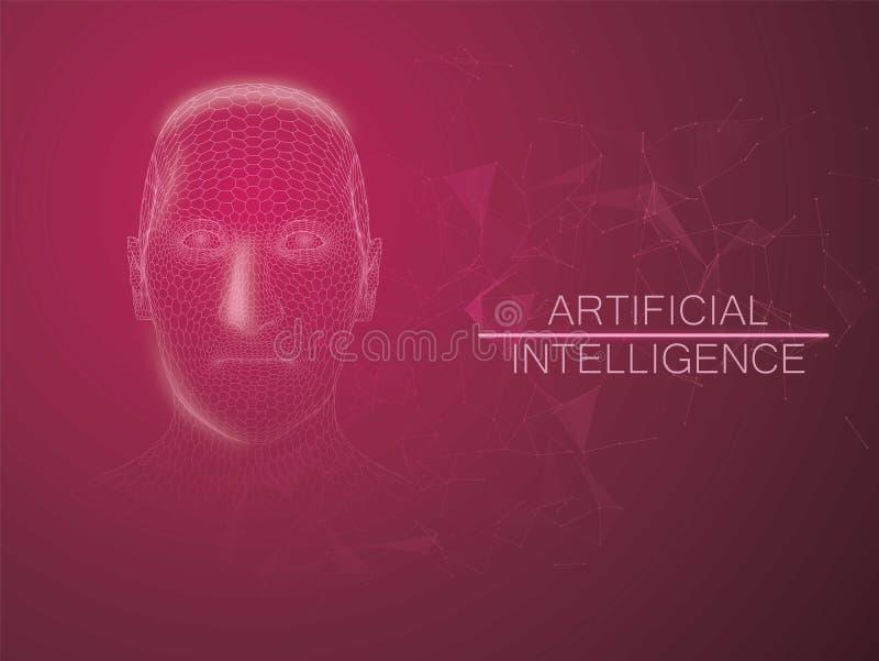 Grande visualisation humaine de données Style futuriste de wireframe de concept d'intelligence artificielle avec des éléments de  illustration libre de droits