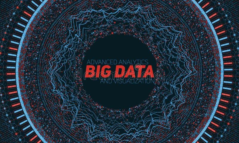 Grande visualizzazione della circolare di dati Infographic futuristico Progettazione estetica di informazioni Complessità di dati illustrazione di stock