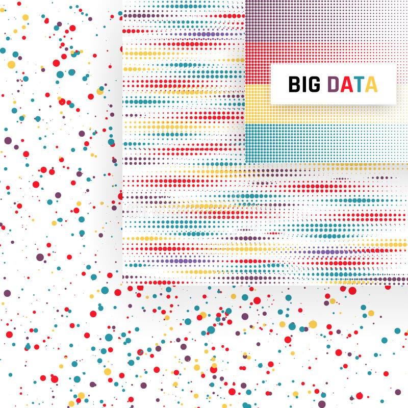Grande visualizzazione di dati Analisi di informazioni Algoritmi di apprendimento automatico Illustrazione di vettore illustrazione di stock