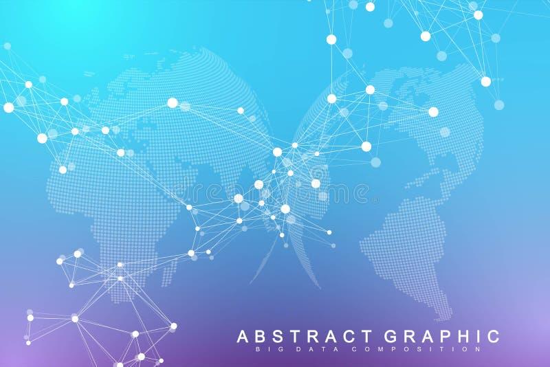 Grande visualizzazione di dati Complessit? visiva di informazioni del fondo geometrico dell'estratto Progettazione futuristica di illustrazione vettoriale