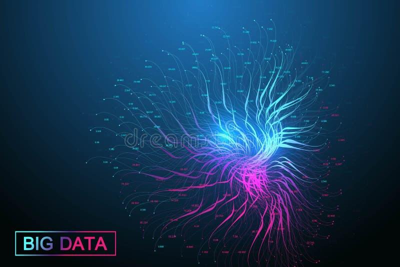 Grande visualizzazione di dati Complessit? visiva di informazioni del fondo geometrico dell'estratto Progettazione futuristica di royalty illustrazione gratis
