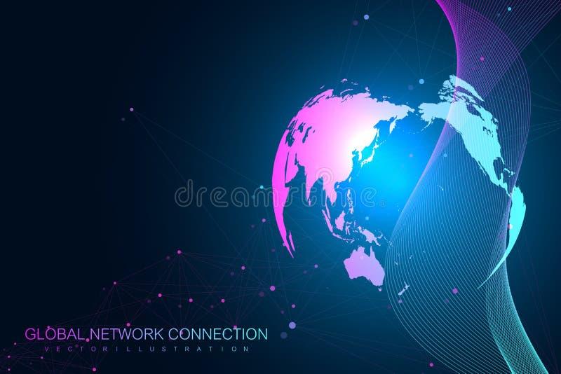 Grande visualizzazione di dati con un globo del mondo Fondo astratto di vettore con le onde dinamiche Collegamento di rete global illustrazione vettoriale