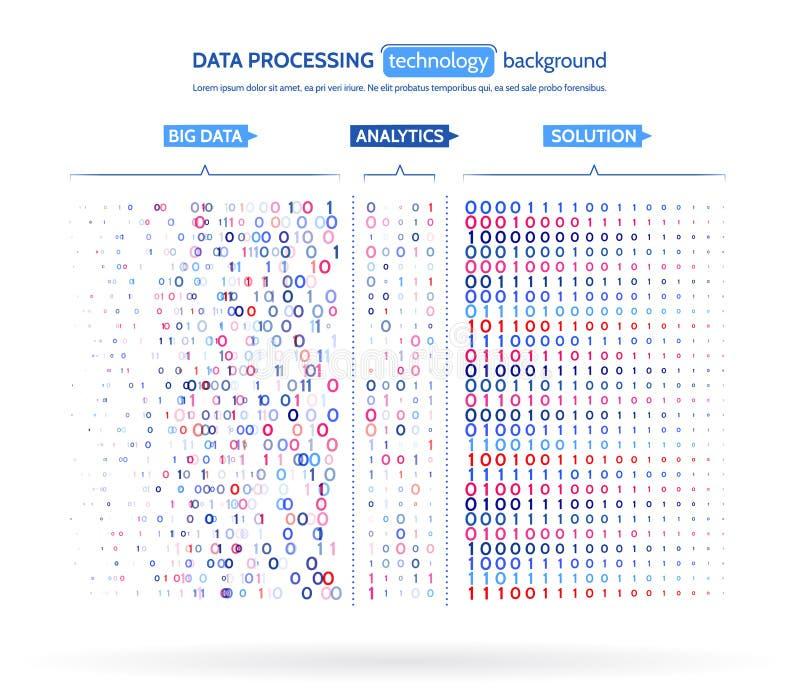 Grande visualizzazione di dati Concetto di analisi dei dati di informazioni Informazioni astratte della corrente Algoritmi a macc illustrazione vettoriale