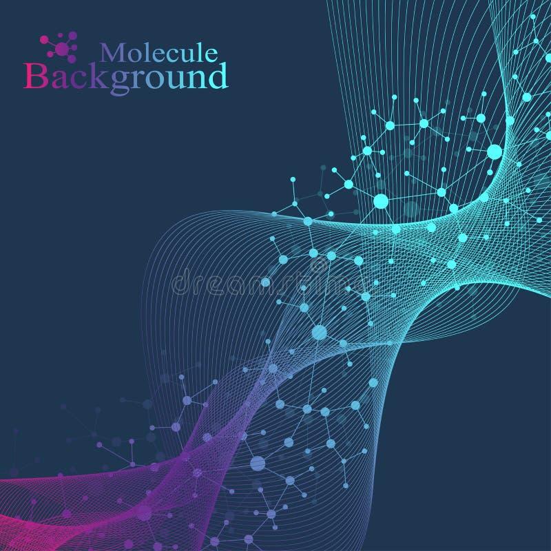 Grande visualizzazione genomica di dati Elica del DNA, filo del DNA, molecola della prova del DNA o atomo, neuroni Struttura astr royalty illustrazione gratis