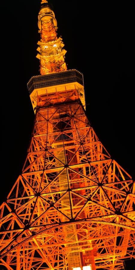 Grande vue panoramique de nuit sur la tour de Tokyo secteur de Shiba-Koen de Minato, Tokyo photographie stock