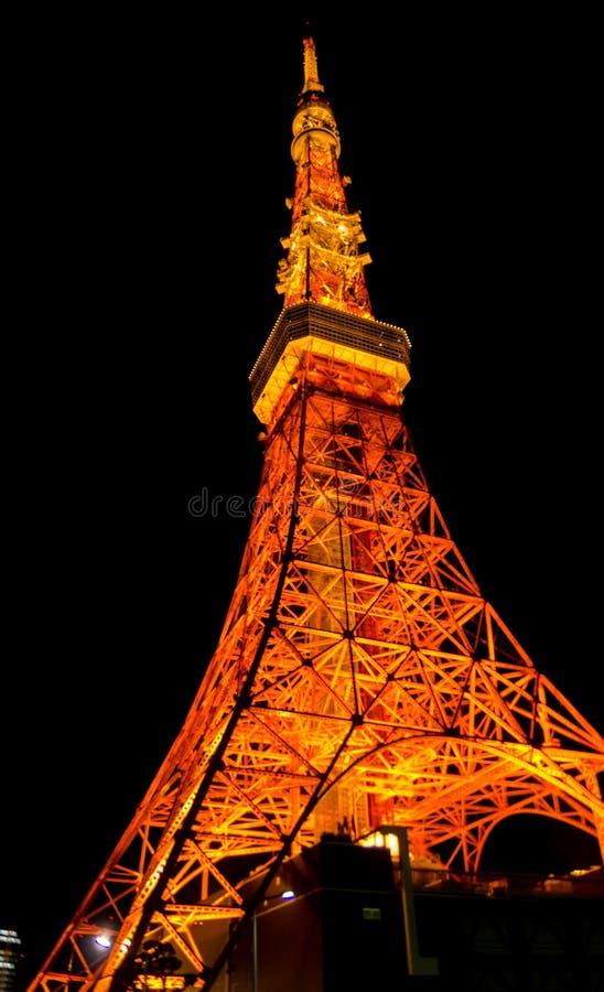 Grande vue panoramique de nuit sur la tour de Tokyo secteur de Shiba-Koen de Minato, Tokyo images libres de droits