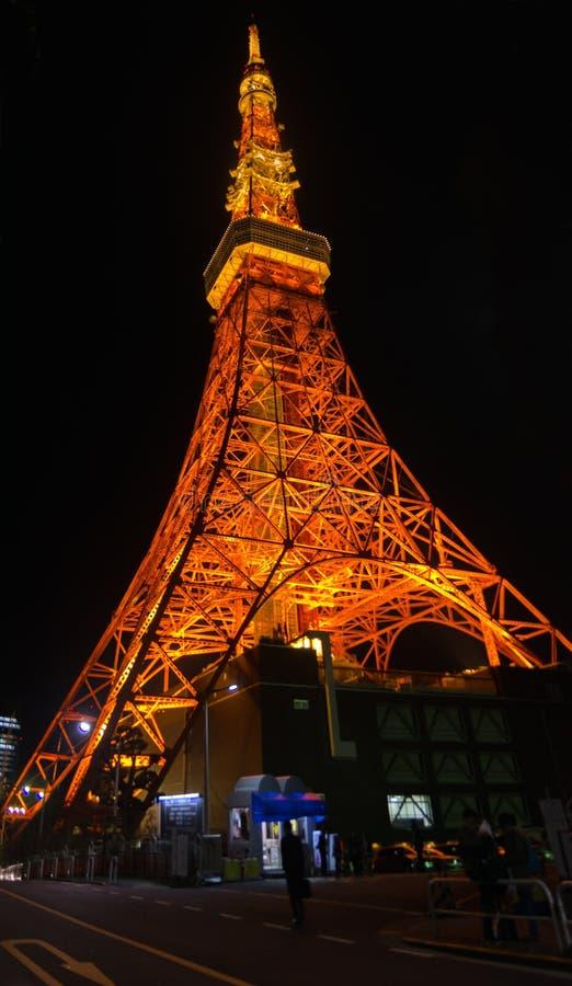 Grande vue panoramique de nuit sur la tour de Tokyo secteur de Shiba-Koen de Minato, Tokyo photographie stock libre de droits