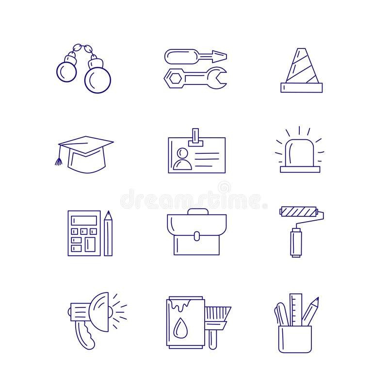 Grandes ícones projetados do trabalho ilustração stock